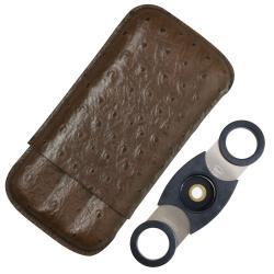 Cuban Crafters 3-finger Ostrich Leather Cigar Case Set