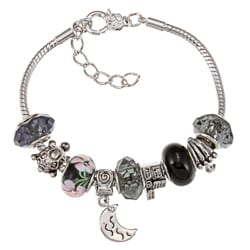 La Preciosa Silverplated Black Bead and Charm Bracelet