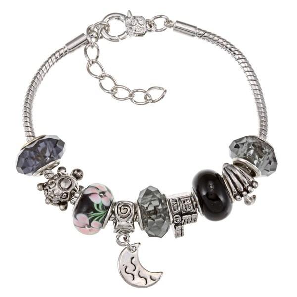 La Preciosa Silverplated Black Bead and Charm  Bracelet