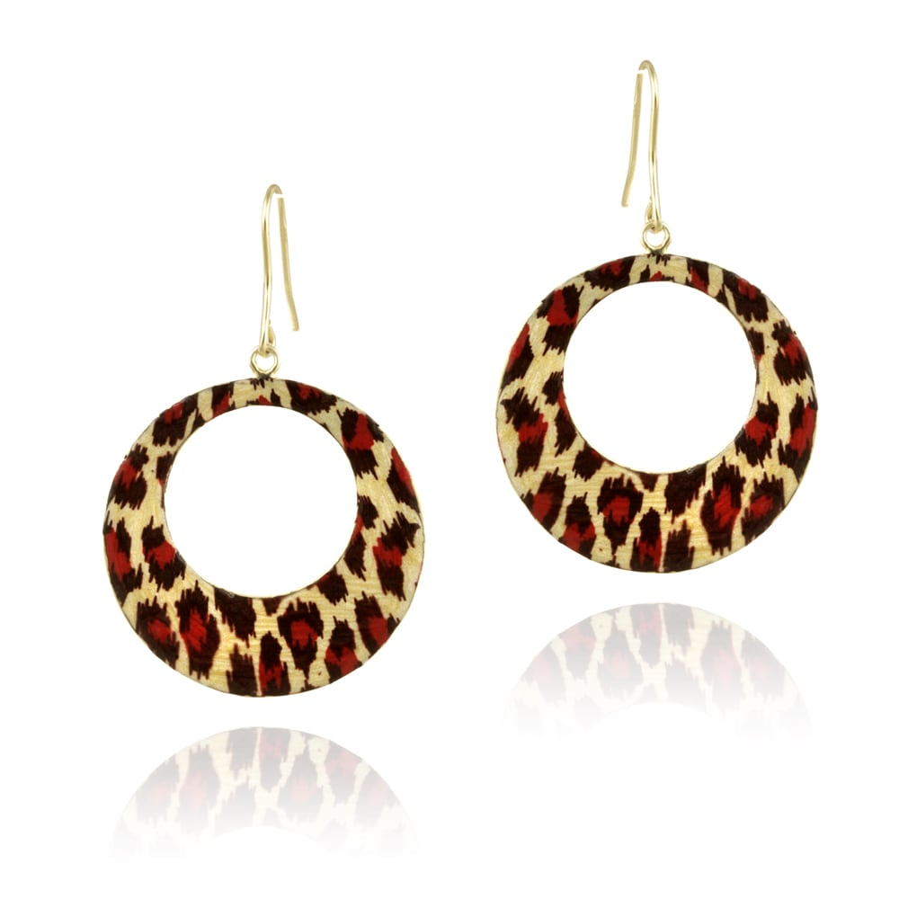 Mondevio 18k Gold Overlay Enamel Dangle Earrings - Thumbnail 0