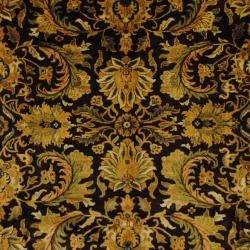 Indo Hand-knotted Mahal Dark Brown/ Gold Wool Rug (8' x 10'3) - Thumbnail 1