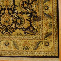 Indo Hand-knotted Mahal Dark Brown/ Gold Wool Rug (8' x 10'3) - Thumbnail 2