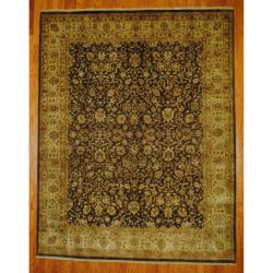 Indo Hand-knotted Tabriz Brown/ Ivory Wool Rug (7'10 x 10')