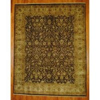 "Handmade Indo Tabriz Brown/ Ivory Wool Rug (India) - 7'10"" x 10'"