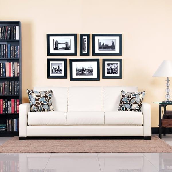 Portfolio Convert-a-Couch Trace Cream Renu Leather Squared Arm Futon Sofa Sleeper
