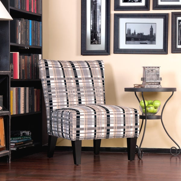 Shop Portfolio Hali Grey Stone Plaid Armless Chair Black
