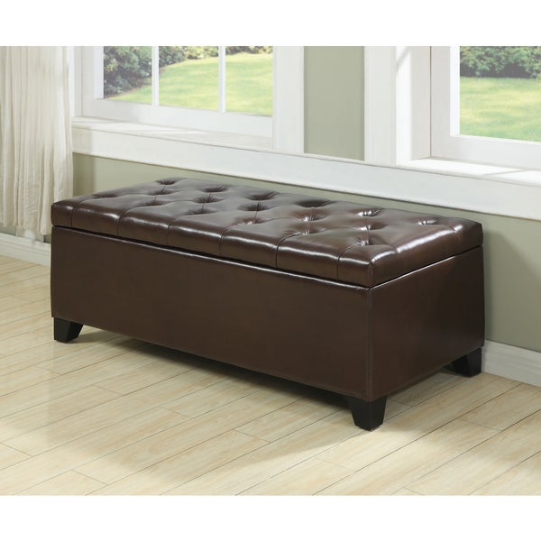 Handy Living Blane Tufted Brown Renu Leather Wall Hugger Bench Storage Ottoman