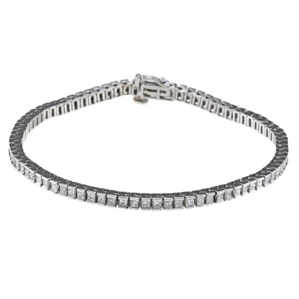 Montebello 14k White Gold 5ct TDW IGL Certified Princess-cut Diamond Tennis Bracelet (H-I, I1)