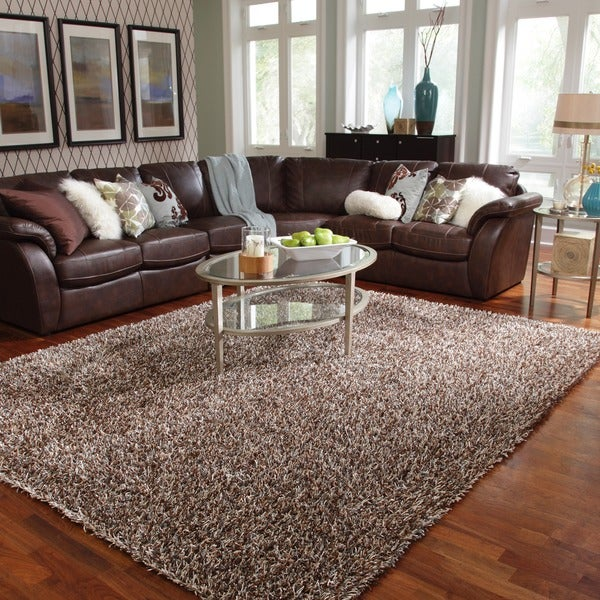 Shop Caldera Hand Tufted Blue Mocha Shag Rug 7 9 X 9 9