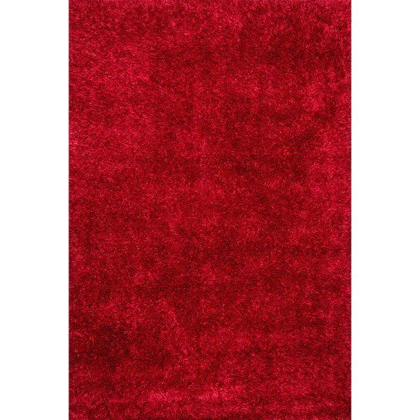 Hand-tufted Red Shag Area Rug - 5' x 7'6