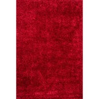Hand-tufted Red Shag Area Rug - 5' x 7'6""