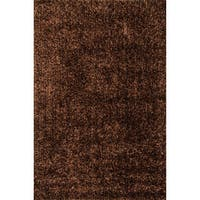 Hand-Tufted Brown/ Rust Shag Area Rug - 5' x 7'6