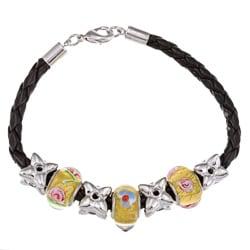 La Preciosa Silverplated Glass Flower Bead Leather  Bracelet