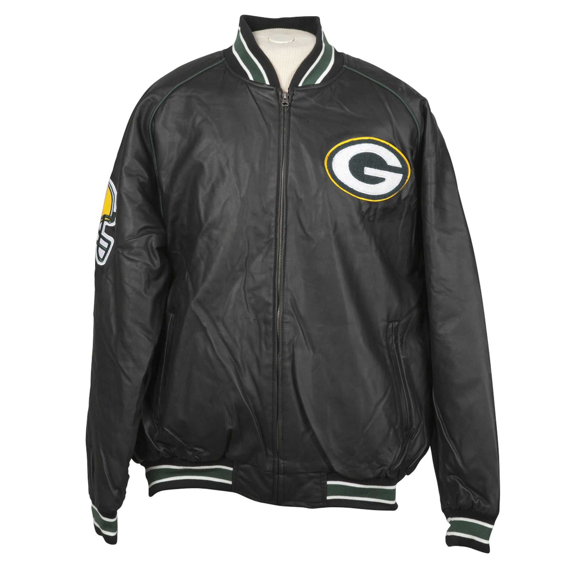 Green Bay Packer Faux Leather Jacket with Chenille Logo