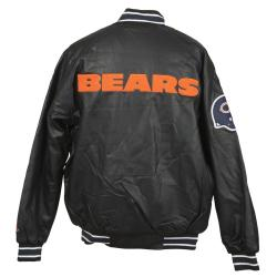 Chicago Bears Faux Leather Jacket with Chenille Logo - Thumbnail 1