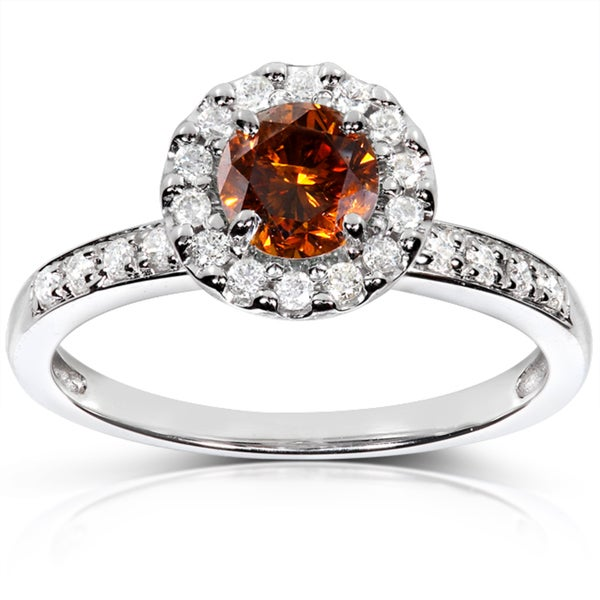 Annello by Kobelli 14k Gold 4/5ct TDW Certified Orange and White Diamond Halo Ring (F-G, I1-I2)