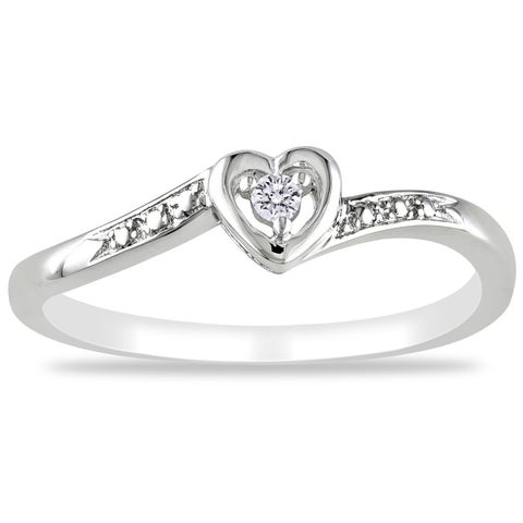 Miadora Sterling Silver or Rose Plated Silver Diamond Accent Heart Ring