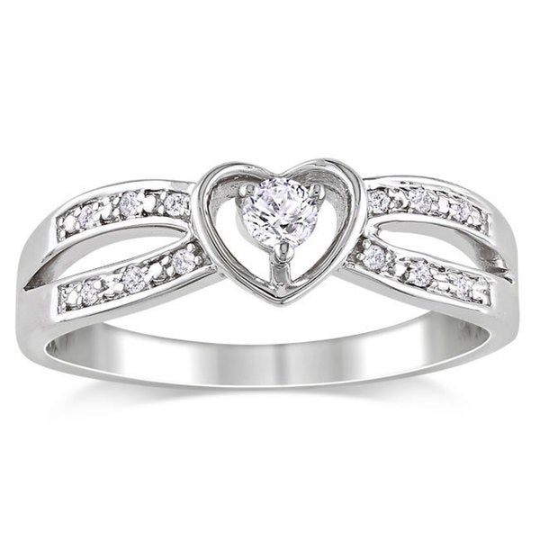Miadora Sterling Silver White Sapphire and Diamond Accent Promise Ring (G-H, I2-I3)