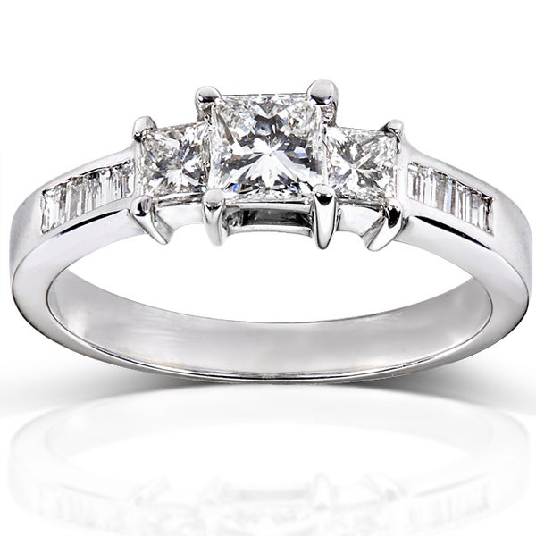 Annello by Kobelli 14k Gold 1ct TDW Certified Princess and Baguette Cut Diamond Ring (H-I