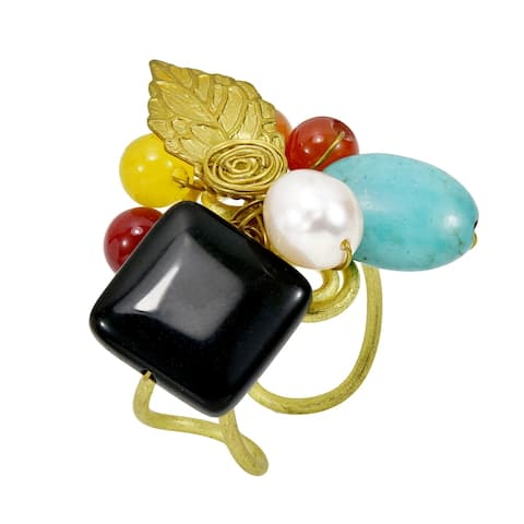Handmade Radiant Mix of Pearl Stone Beads Cluster Brass Leaf Statement Ring (Thailand)