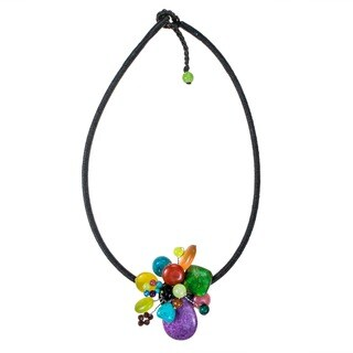 Handmade Multi-Gemstone Cluster Cotton Rope Necklace (Thailand)