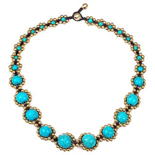 Handmade Brass Bead and Turquoise Cotton Rope Necklace (Thailand)