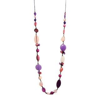 Handmade Quartz and Amethyst Cotton Rope Necklace (Thailand)
