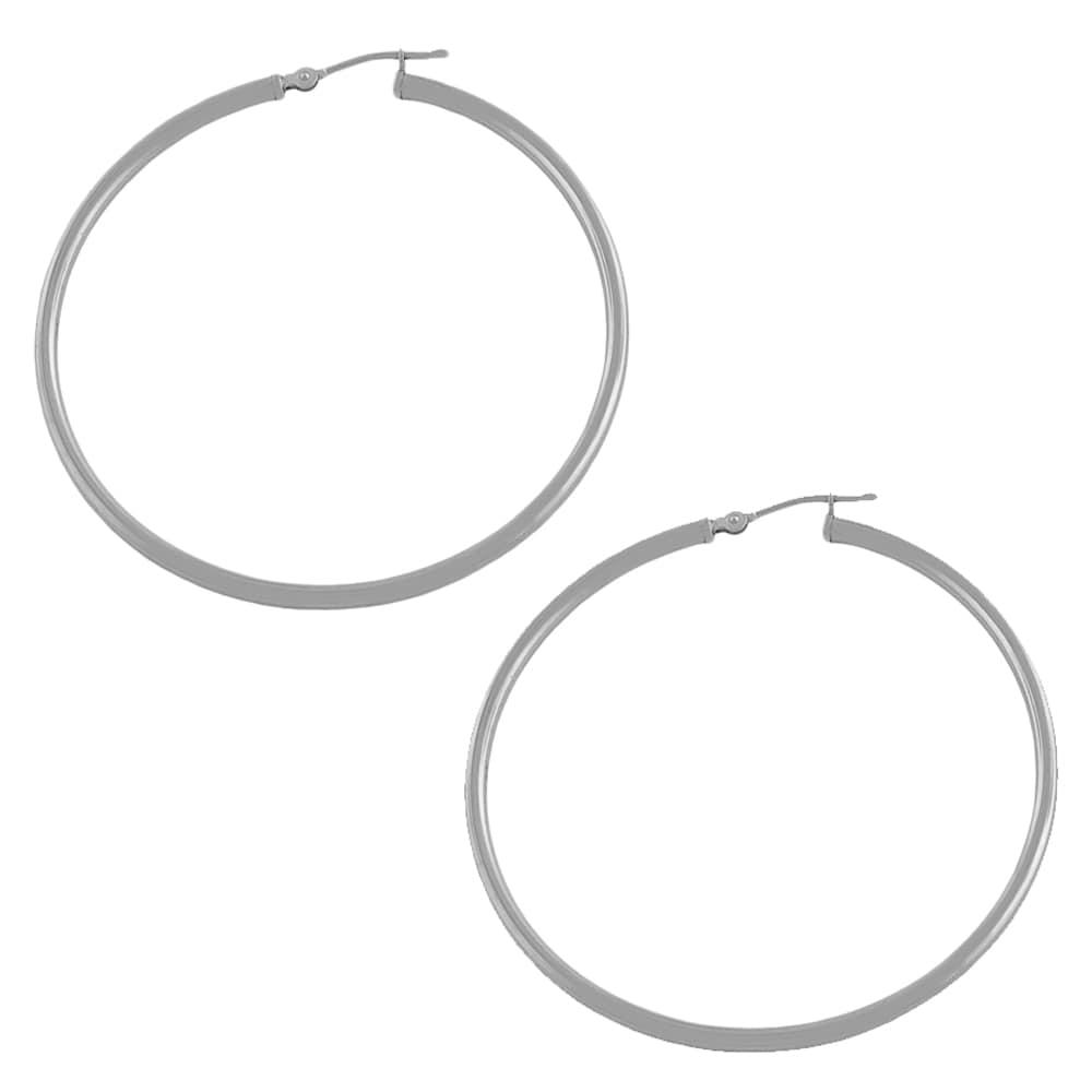 Fremada 14k White Gold Tube Hoop Earrings
