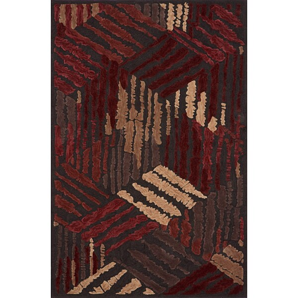 Hand Tufted Montage Apex Red Rug (5' x 7'6)