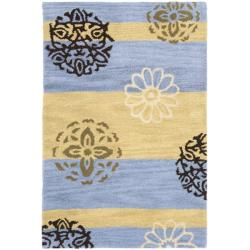 Safavieh Handmade Eternity Blue/ Gold New Zealand Wool Rug (2' x 3')