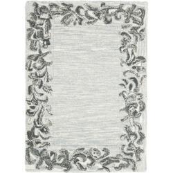 Safavieh Handmade New Zealand Wool Floral Border Silver Rug (2' x 3')