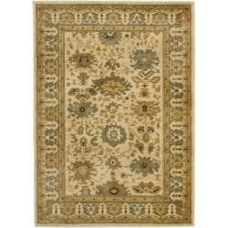 Safavieh Oushak Cream/ Blue Rug (5'3 x 7'6)