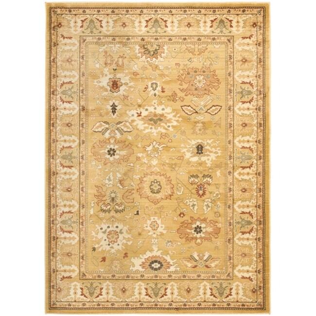 Safavieh Oushak Gold/ Gold Powerloomed Rug (5'3 x 7'6)