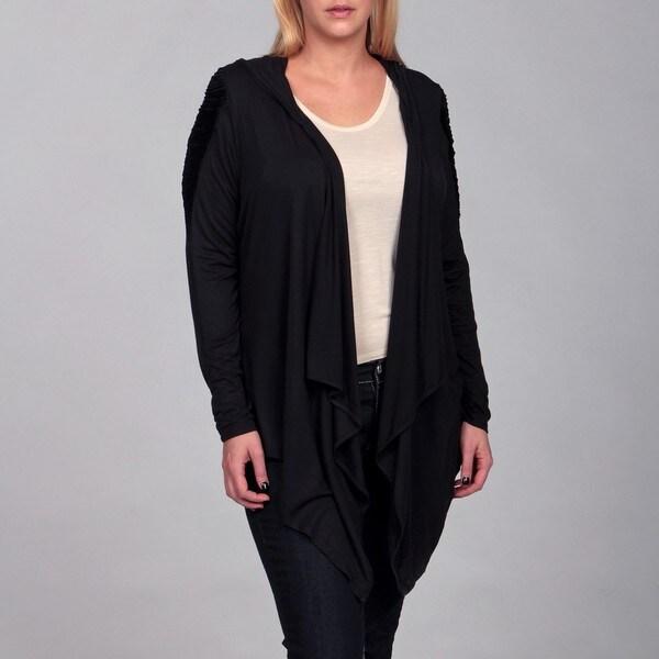 Jessica Simpson Women's Plus Size Black Hooded Cardigan - Free ...