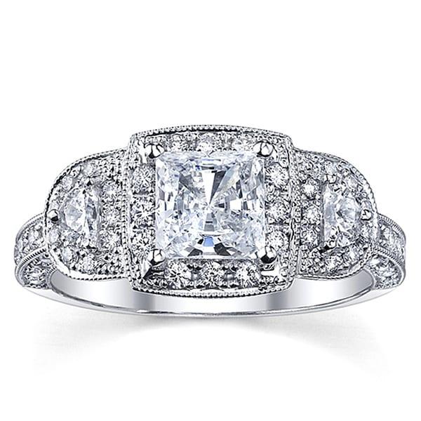 18k White Gold 1 3/4ct TDW Certified Halo Princess Diamond Ring (H-I, SI2-SI3)