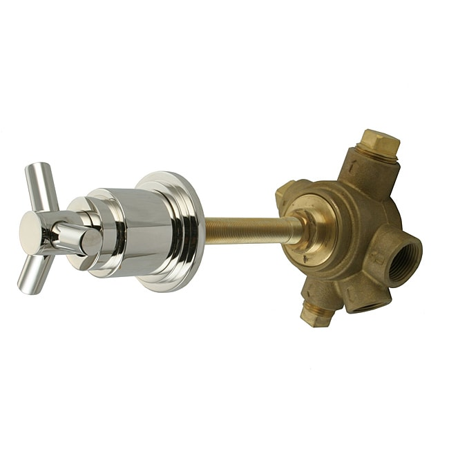 Westbrass 5-Port In Wall 3-Way Shower Diverter Valve with Cross Handle Polished Nickel