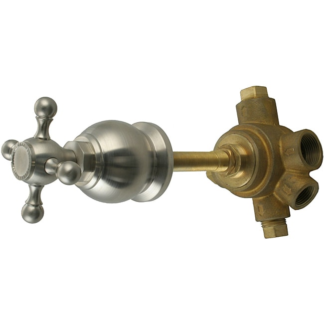 Westbrass 5-Port In Wall 3-Way Shower Diverter Valve with Cross Handle Brushed Nickel