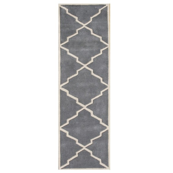 Alliyah Handmade Bluish-Grey New Zealand Blend Wool Runner Rug (2' x 8')