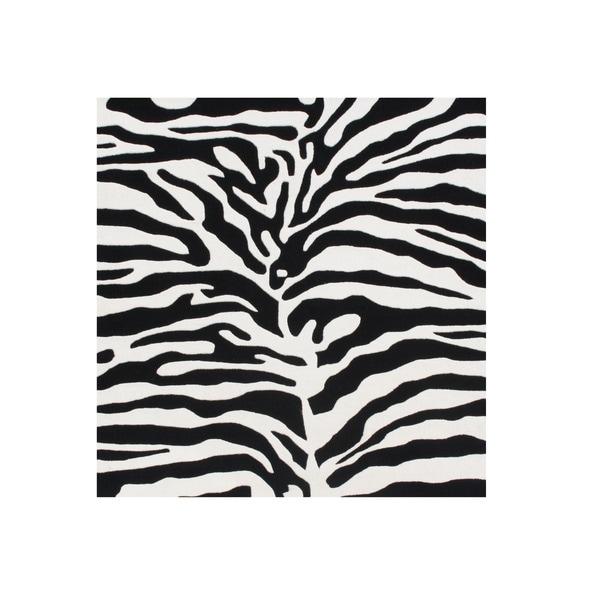 Alliyah Handmade Black/ Off-white Animal Print Pattern New Zealand Blend Wool Rug (6' x 6') - 6' x 6'