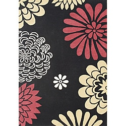 Hand-tufted Giant Flowers Black Wool Rug (8' x 10') - Thumbnail 0