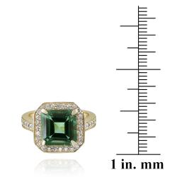 Glitzy Rocks 18k Gold over Silver Lab-created Green Quartz and Cubic Zirconia Ring - Thumbnail 2
