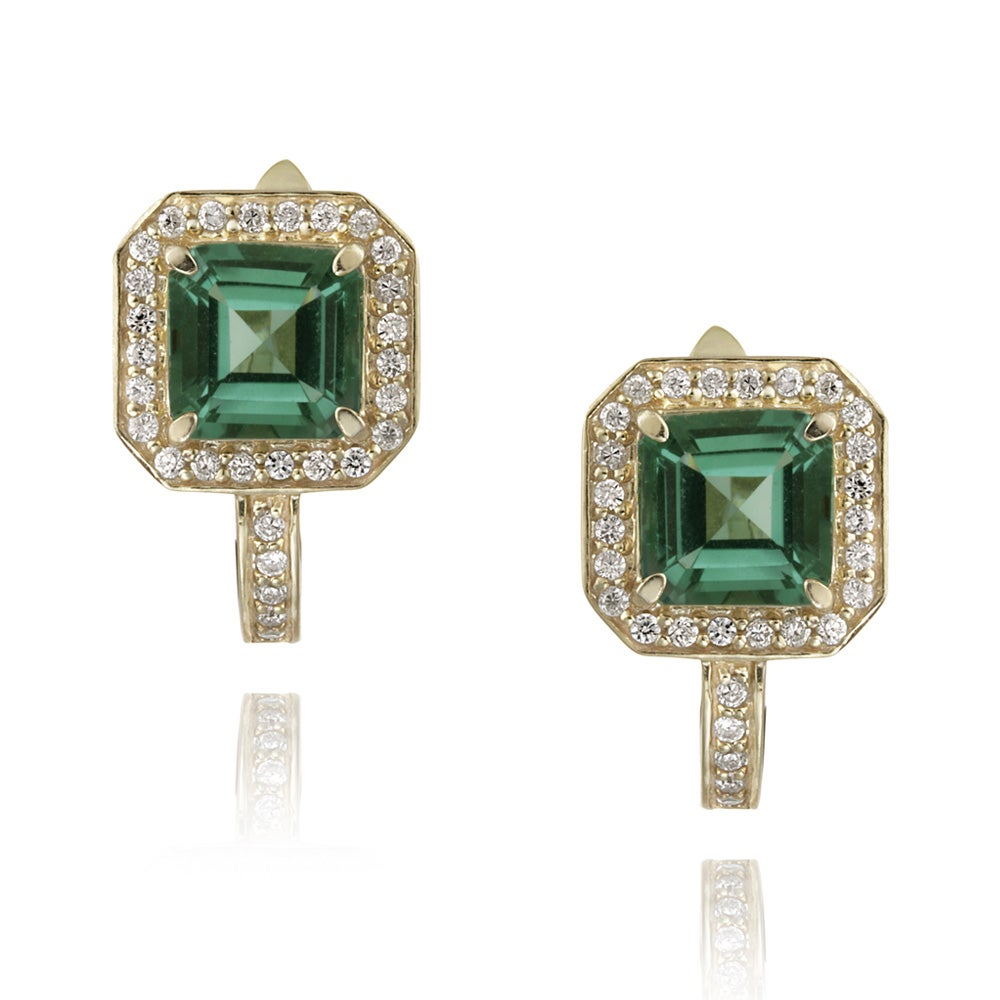 Glitzy Rocks 18k Gold over Silver Lab-created Green Quartz and CZ Earrings