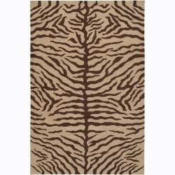 """Artist's Loom Hand-knotted Contemporary Animal Print Wool Rug - 5' x 7'6"""" - Thumbnail 0"""