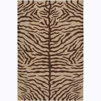 """Artist's Loom Hand-knotted Contemporary Animal Print Wool Rug - 5' x 7'6"""""""