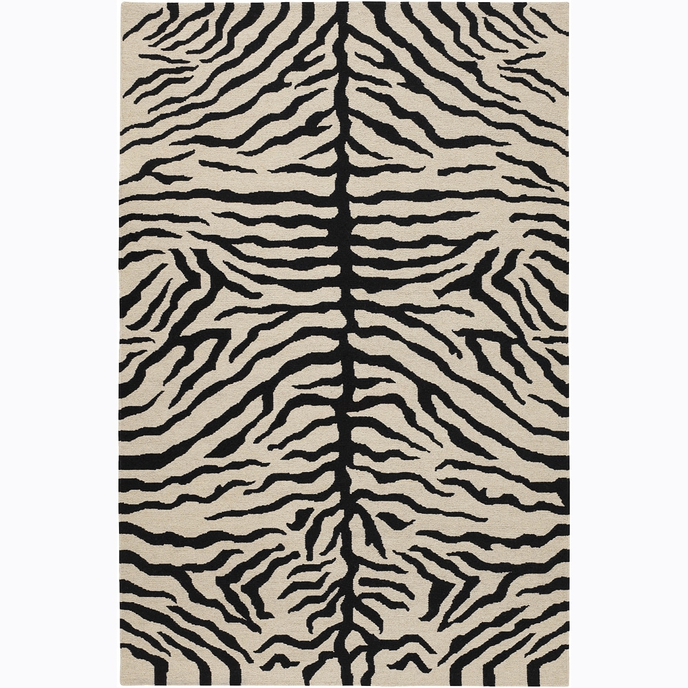 Hand-Knotted Mandara Black/White Tiger Print New Zealand Wool Rug (5' x 7'6)