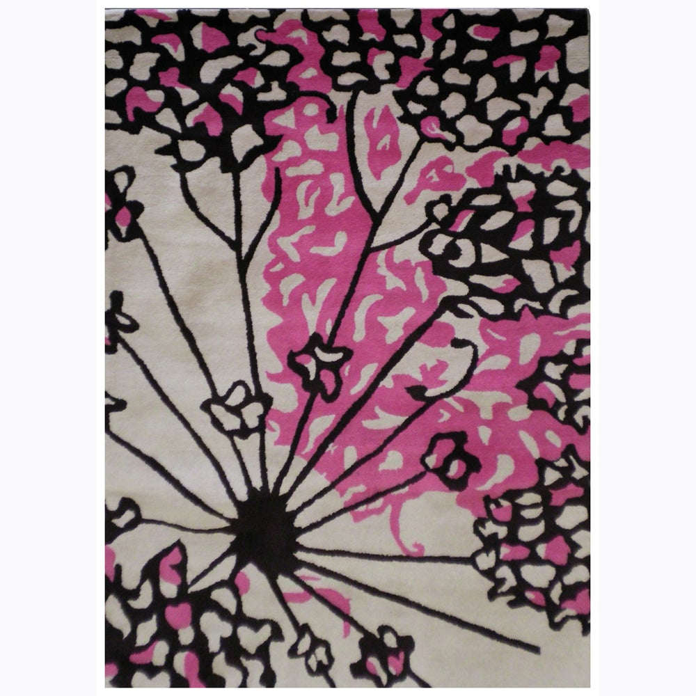 Hand-Tufted Pink/Black Abstract Mandara New Zealand Wool Rug (7'9 x 10'6)