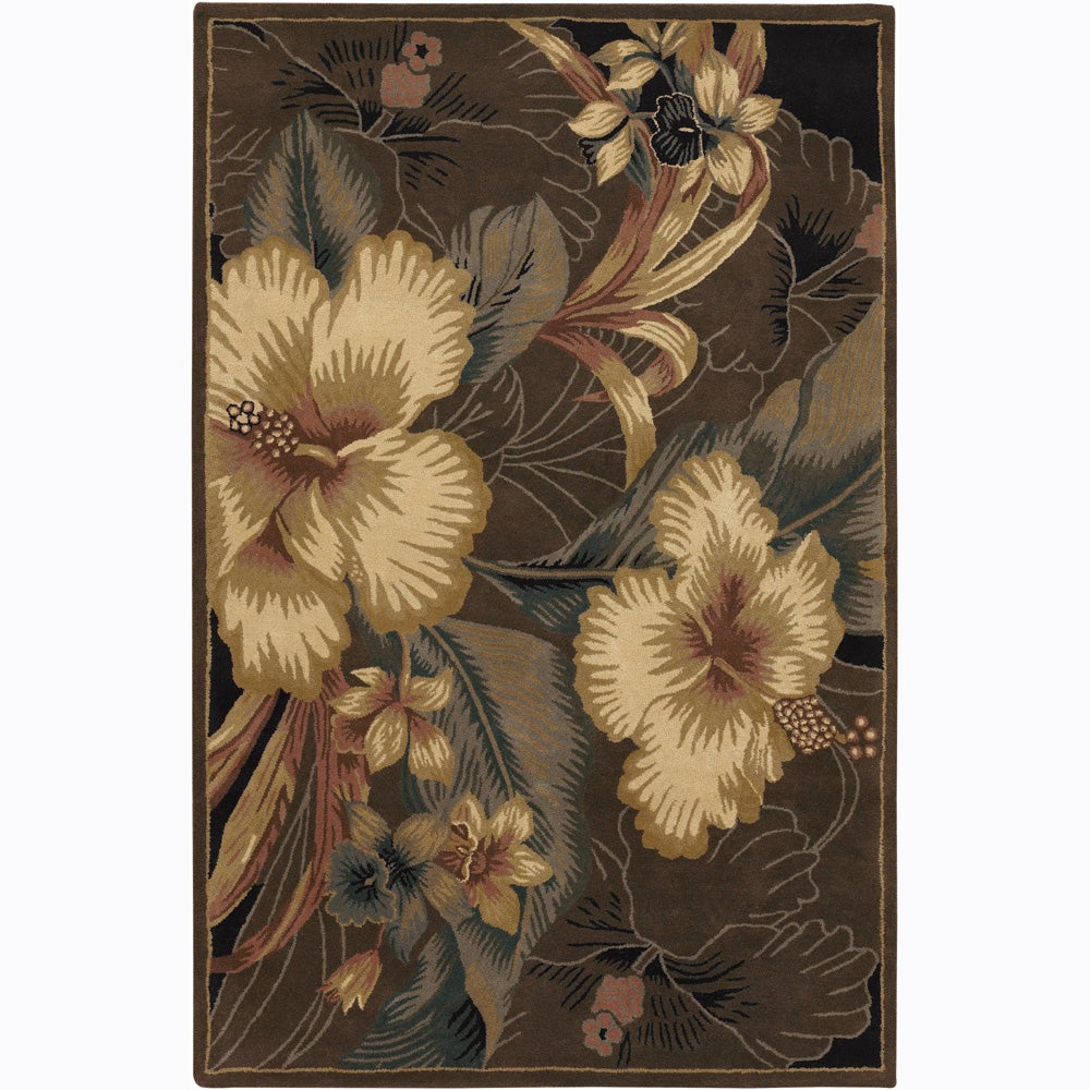 Hand-tufted Mandara Beige Floral Rug (7'9 x 10'6)