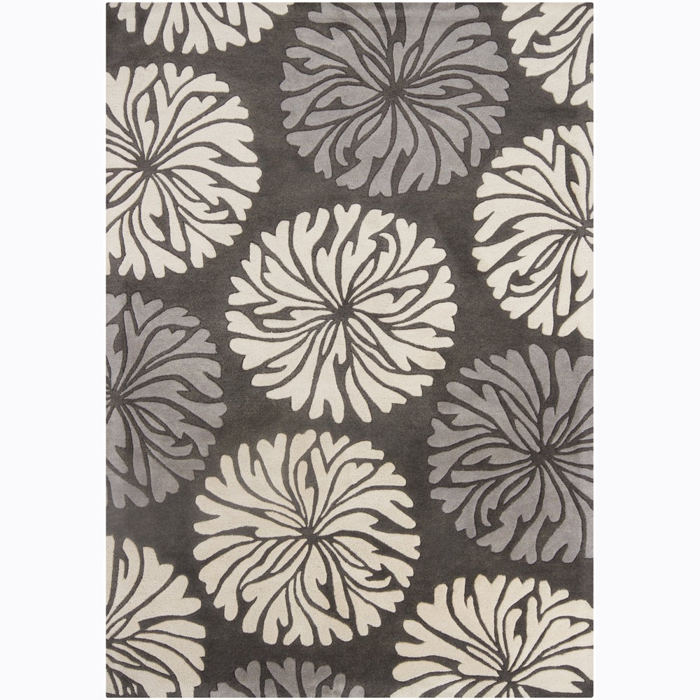 Hand-Tufted Mandara Contemporary Floral Wool Rug (7' x 10')