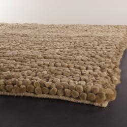 Handwoven One-Inch Tan Mandara New Zealand Wool Shag Rug (9' x 13')