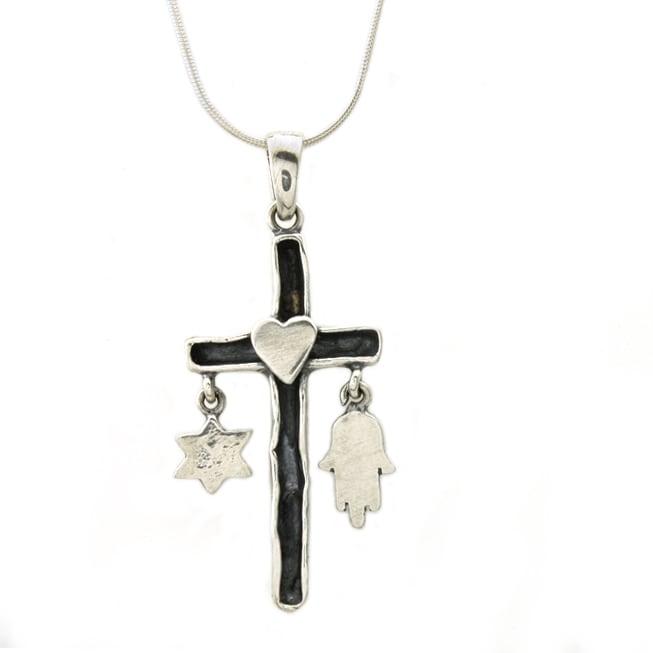 Beverly Hills Charm Silver 'Faith Bond' Cross Necklace
